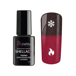 Ráj nehtů UV gel lak Shellac Me Thermo 12ml - Dark Brown-Red Glimmer