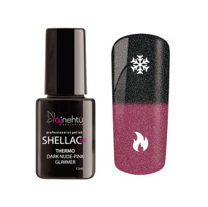 Ráj nehtů UV gel lak Shellac Me Thermo 12ml - Dark Nude-Pink Glimmer