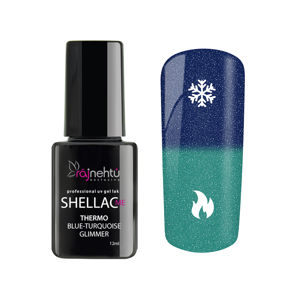 Ráj nehtů UV gel lak Shellac Me Thermo 12ml - Blue-Turquoise Glimmer
